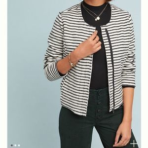 ANTHROPOLOGIE Casual Striped Moto Jacket Size XS